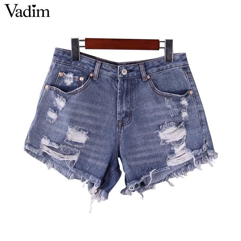 Vadim Femmes Basic Denim Shorts Trous Tassles Poches Zipper Fly Femelle Casual Mode Chic Shorts Pantalones Cortos Sa089 Y19050905