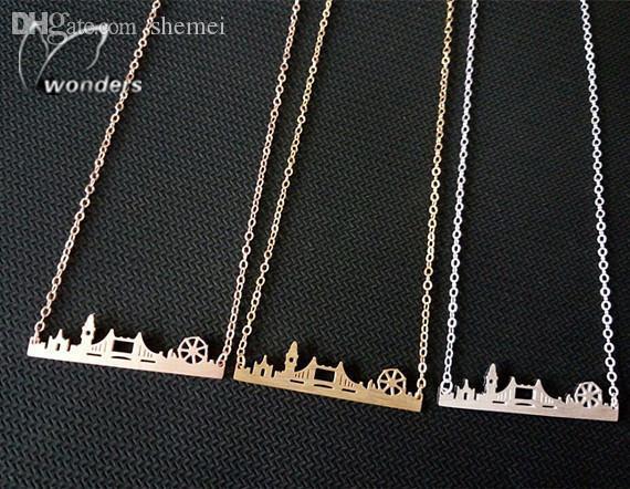 Atacado-2015 Skyline moda jóias de ouro / aço prata / Rose Gold Amizade presente inoxidável Cityscape Londres Colar Pingente