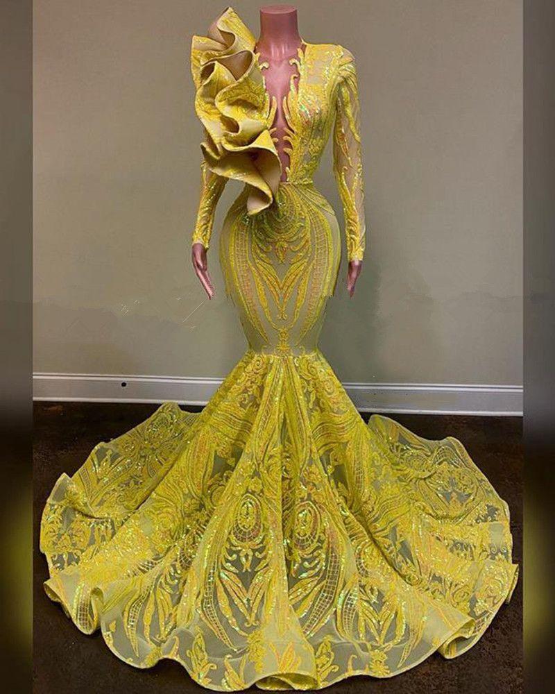 Prom Dresses lunghi 2020 Sexy Vedere attraverso la parte superiore Sparkly glitter paillettes africano ragazza nera a maniche lunghe giallo Mermaid Prom abito da sera