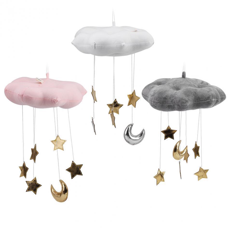 Mobile Bébé À Suspendre Au Plafond acheter flottant nuage pendentif avec lune Étoiles crib chambre play  décoration bébé lit suspendu siège en peluche jouet main cloche enfants  q190531