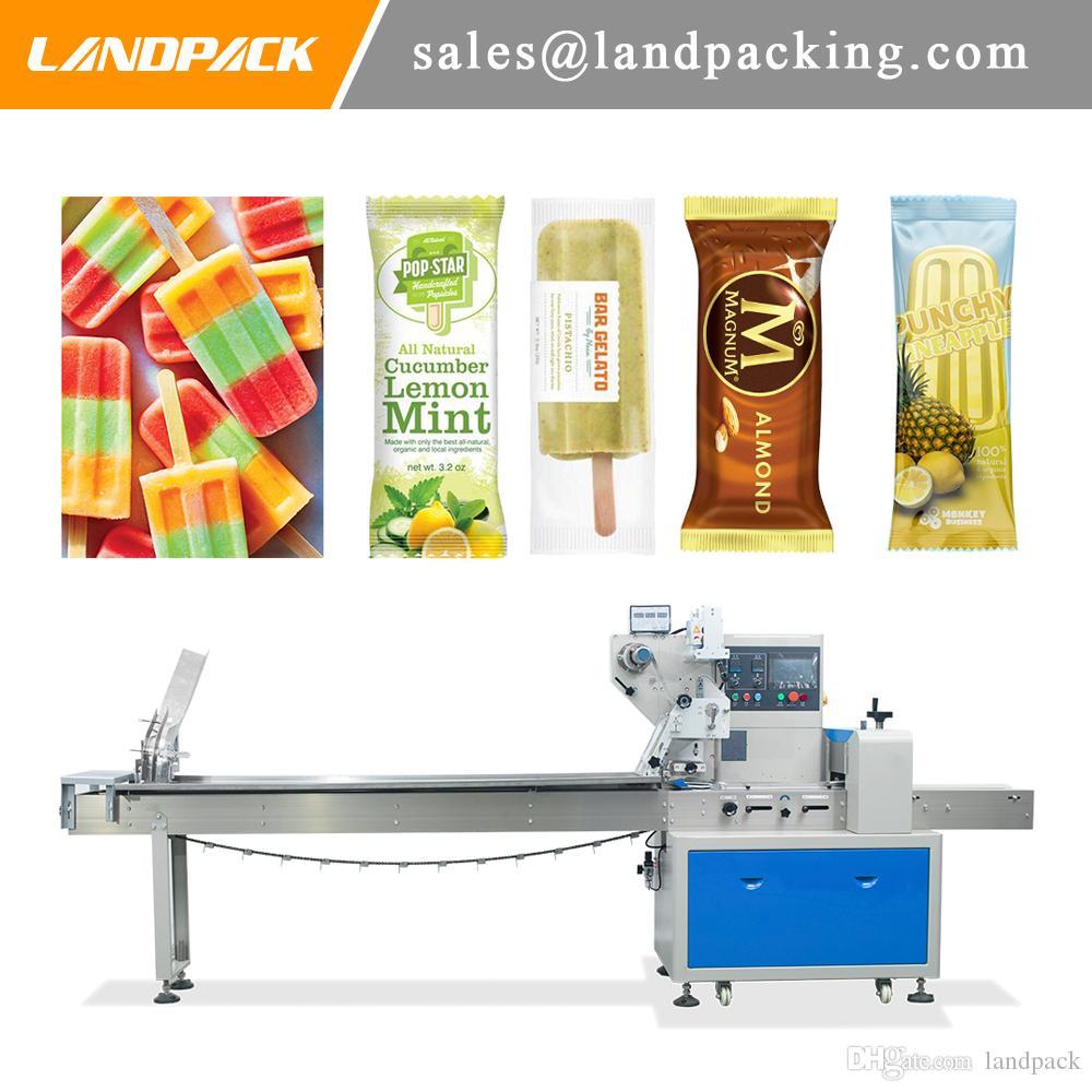 Profesyonel Paketleme Sistemleri Eşleştirme Otomatik Popsicle Buz Lolly Yatay Paketleme Makinesi