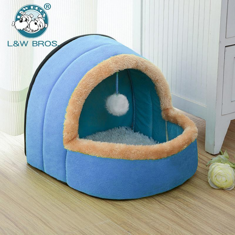5 Colors Pet Dog Cat Bed Foldable Puppy House With Toy Ball Warm Soft Pet Cushion Dog Kennel Cat Castle Fast Shpping D19011201