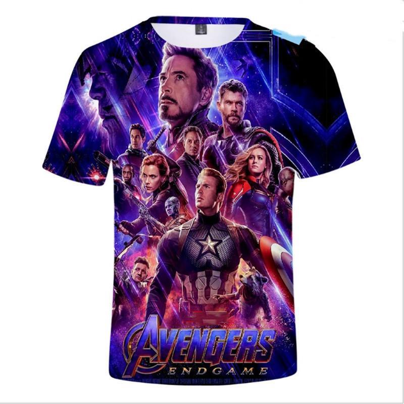 2019 New Avengers Endgame 소년 티셔츠 3 차원 프린트 티셔츠 반팔 티셔츠 탑 티 어린이 의류 아동복 3-12 Y Y190518