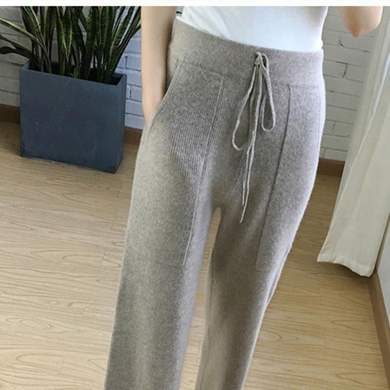 Otoño e invierno de lana nueva suelta de punto puros pantalones de pierna ancha suaves y cómodos pantalones de cachemira de las mujeres ocasionales de los pantalones de punto las mujeres T200113