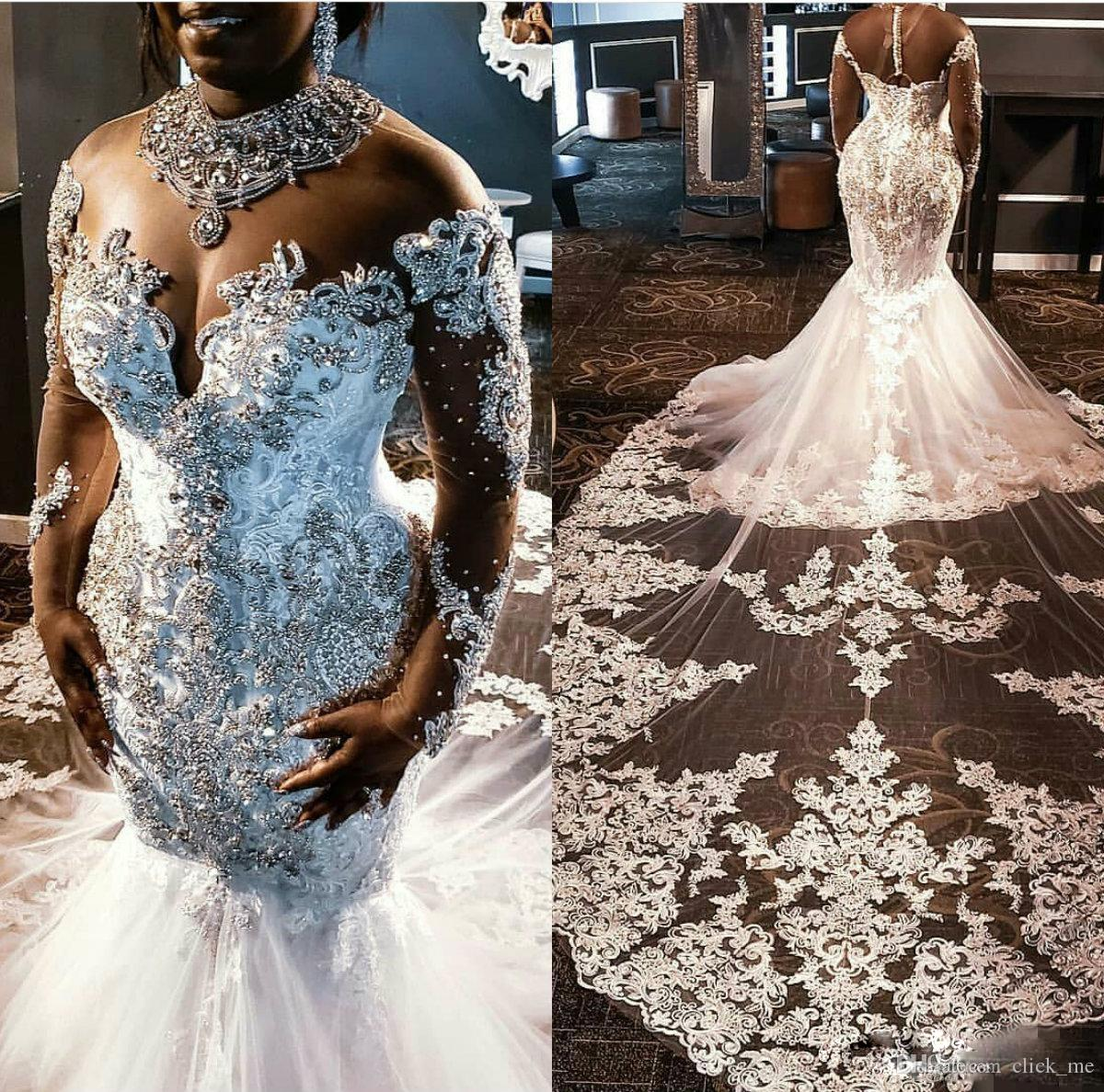 African Mermaid Wedding Dresses Luxury Crystals Major Beading vestidos de Long Sleeves Plus Size Wedding Dress Appliques Lace Bridal Gowns