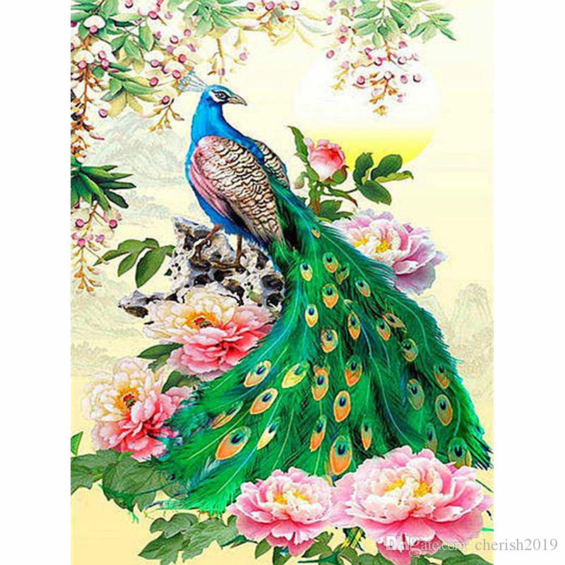 5D Diamond Painting Peacock Full Drill Home Decor Embroidery Picture Acces