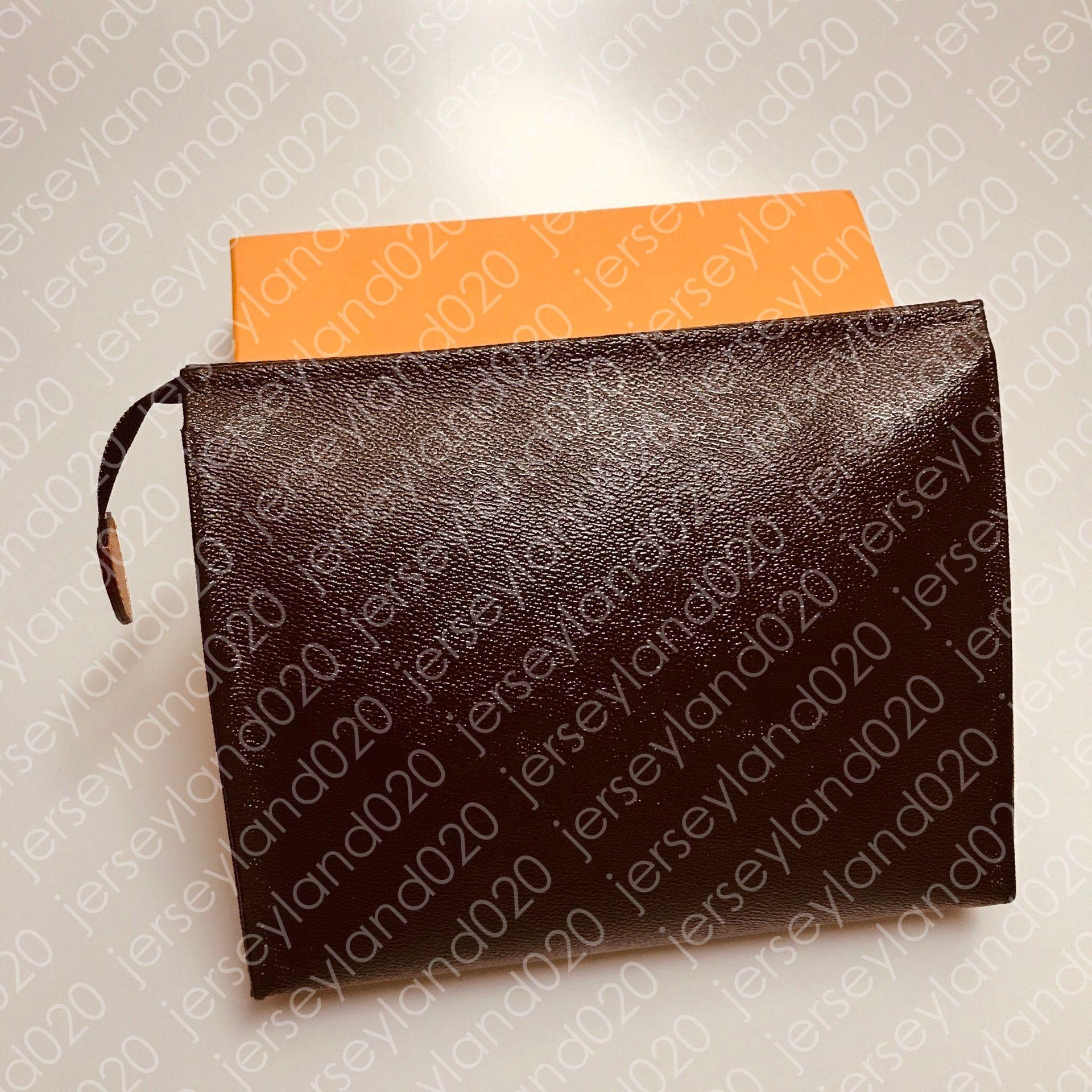 TOILETRY POUCH 26 19 15 cm Tasarımcı Moda Kahverengi Debriyaj Kozmetik Çanta Güzellik Lüks Seyahat Çantası Mini Pochette Aksesu ...