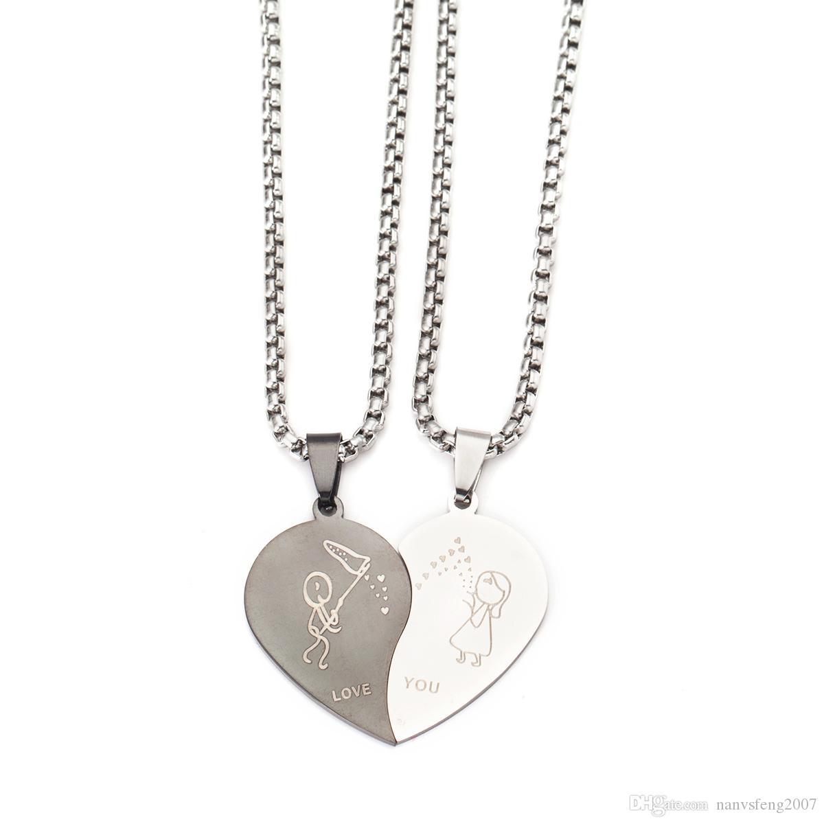 Casais Coração Amor Querida Colar de Pingente de Aço Inoxidável Jóias Romântico Te Amo Jóias