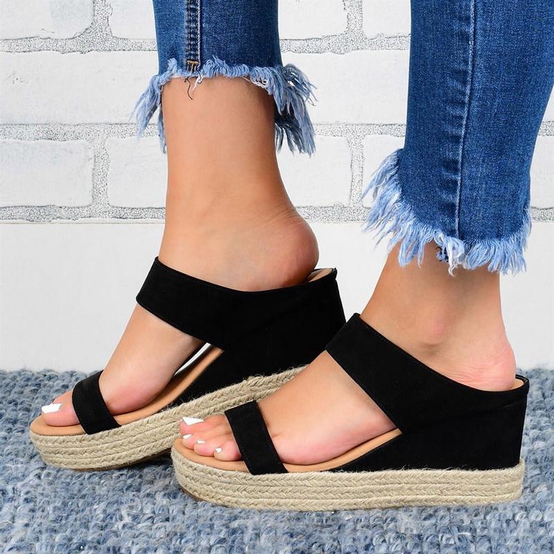 2020 Frauen Sandalen Feste Slip-On Straw öffnen Zehe-starke untere Keil-Freizeitschuhe in Übergrößen-Sommer-Strand-Pantoffelschuhe
