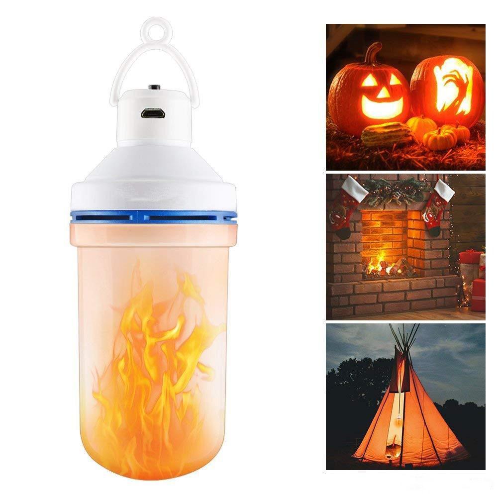 108 LED 불꽃 램프 깜박임 효과 전구 USB 충전 비상 조명 야외 캠핑 램프 휴대용 할로윈 파티 휴일