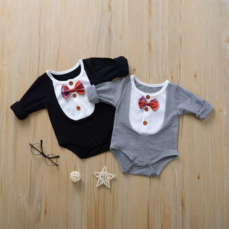 الوليد الطفل بوي فتاة رومبير مع القوس التعادل طويلة الأكمام الخريف القطن بوتيك الملابس الرضع جديد