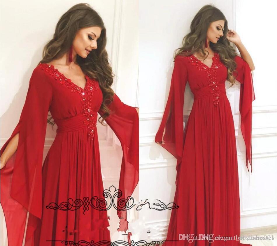 Arabie Arabe rouge en mousseline de soie col en V Une ligne robes de bal Split manches longues caftan Dubaï soirée rouge robe formelle 2019 Occasion spéciale porter