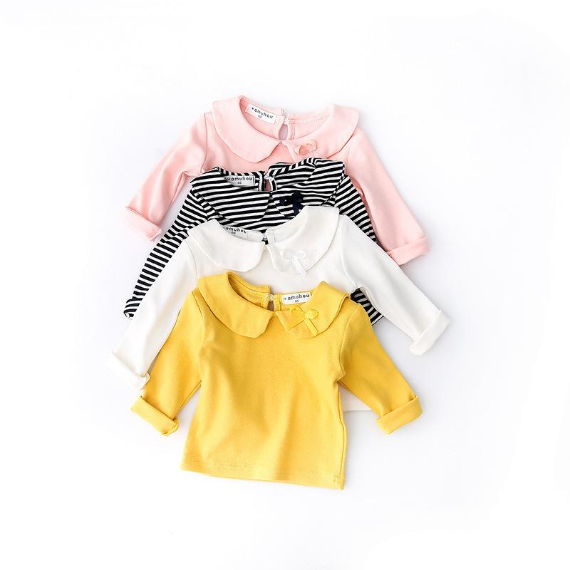 New 2018 Spring Kids Girls T-shirt Long Sleeve Striped Cotton T-shirt Girl Children Fashion Tops Kids Baby Clothes for 0-3Y