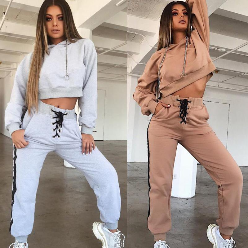 European and American New Women's Hooded Casual Sports Suit