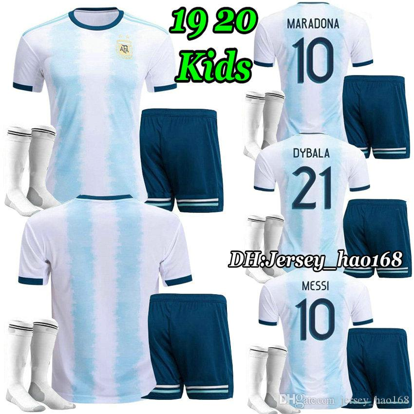 Copa America 2019 kits enfants Argentine maillot de football 2020 KITS enfants 19 20 maillots de foot DYBALA MARADONA AGUERO DI MARIA