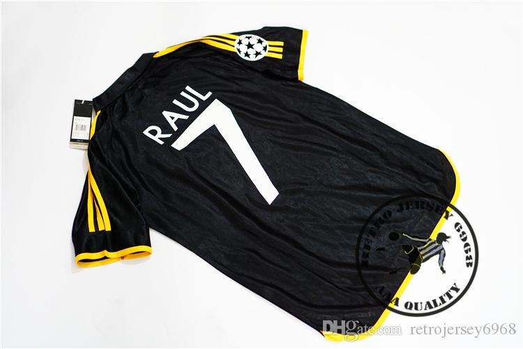 Free shipping 1999 2000 champion league final real madrid black away raul redondo r.carlos figo camisetas soccer jersey