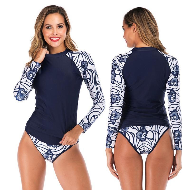 جديدة طفح الحرس النساء المرقعة مظلة ملابس السباحة اثنان من قطعة شاطئ التزحلق الغوص ثوب السباحة ملابس السباحة طويلة الأكمام