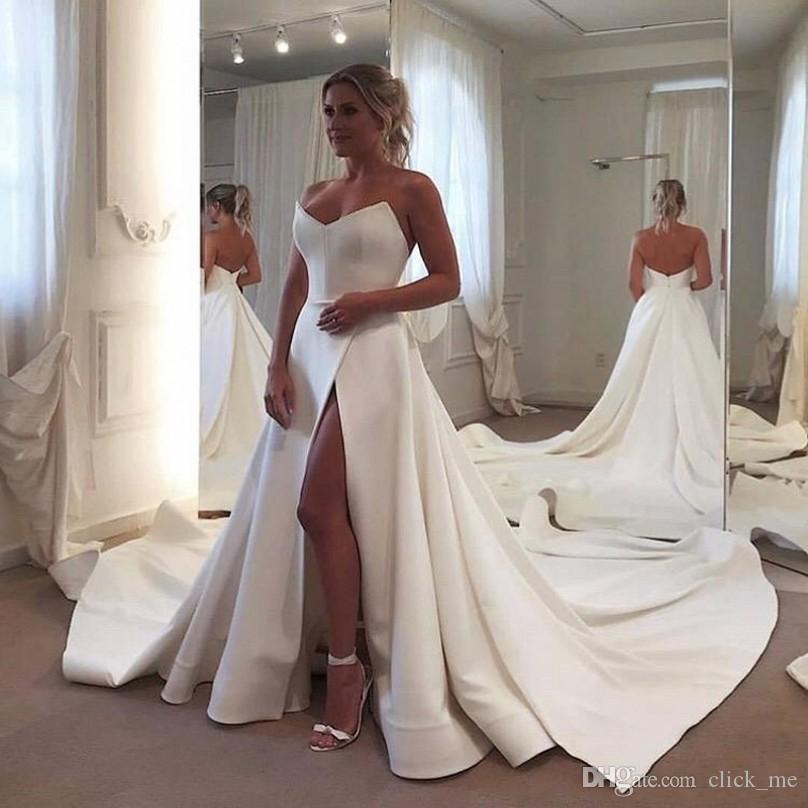 Discount Satin Simple Wedding Dresses Sweetheart Sexy High Side Split Sweep Train Beach Wedding Gowns Low Back Vestido De Novia Bridal Vestidos