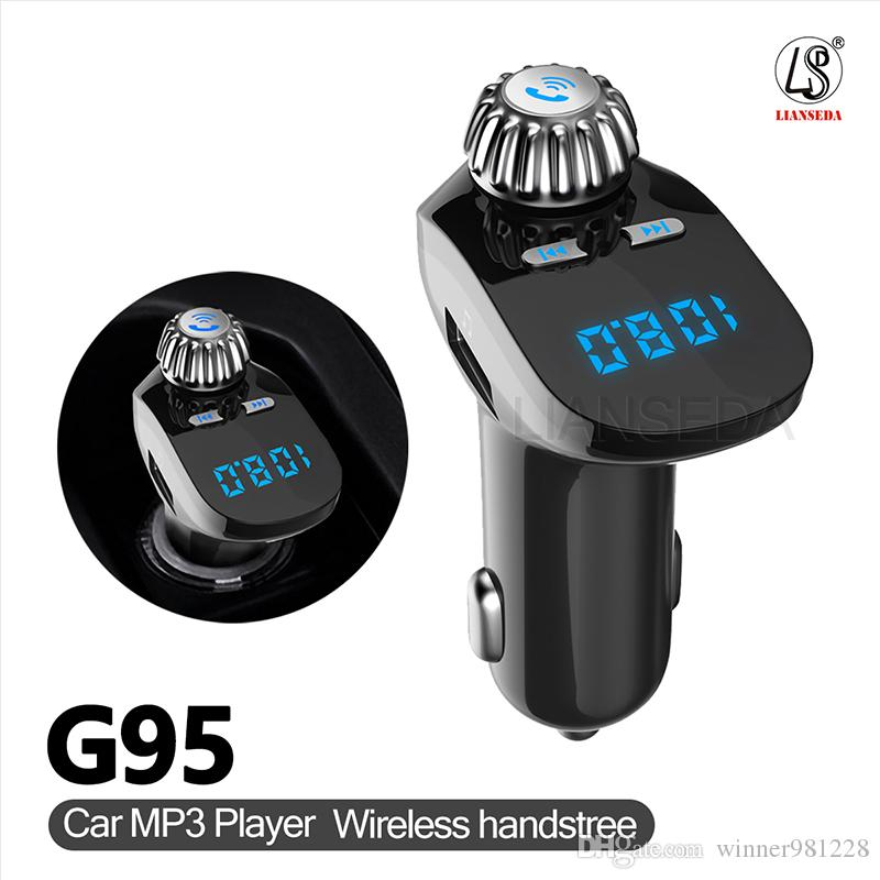 Cell Phone FM Transmitters G95 Bluetooth Car Kit Car mp3 Player Support Dual USB U disk Card reading Measuring With TF Card