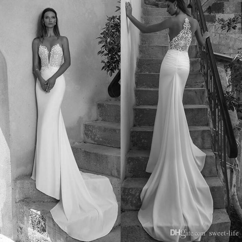 2019 White Newest Sheer Backless Mermaid Wedding Dresses Sexy Illusion Jewel Neck Appliques Bride Dress Long Bridal Gowns