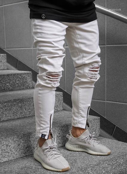 Jeans Moda estate Zipper i pantaloni casuali scarni della matita metà di vita jeans da uomo Abbigliamento uomo bianco strappato