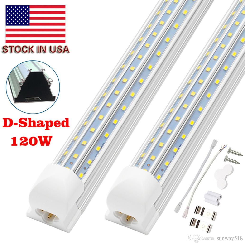 8FT Светодиодные светильники, 8-футовые светодиодные магазины Light 6000K холодная белая двойная сторона T8 V-образной формы интегрированные 8 футов светодиодные лампы, прозрачная крышка