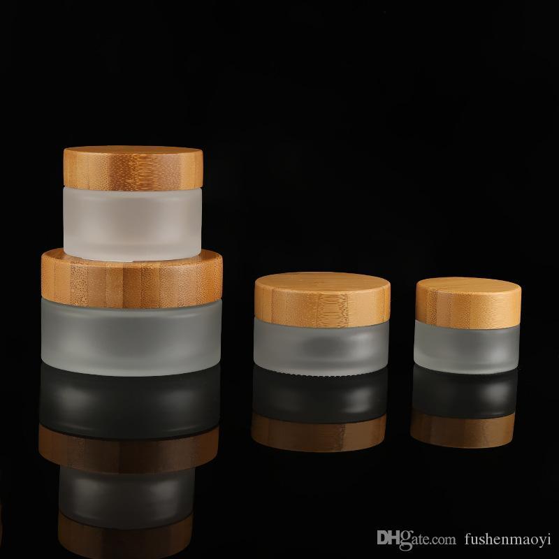 30g 50g de bocaux cosmétiques en verre givré Crème de la taille de voyage pour la main / visage / corps avec capuchon de bambou naturel PP couvercle intérieur gratuitement par fret maritime