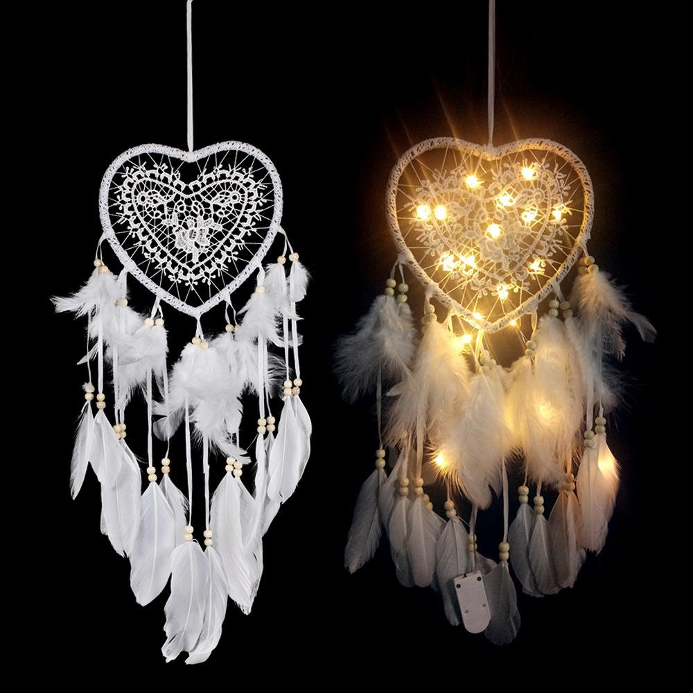 Dream Catcher Led Handmade Dreamcatcher Feathers Night Light Wall Hanging Love Heart Wind Chimes Home Room Decoration Baby Wall Décor
