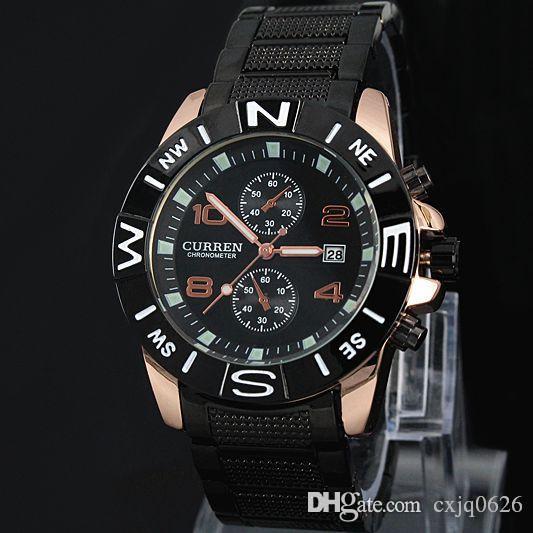2020 beyefendi Yeni CURREN marka Erkekler askeri izle Tarih Moda Kuvars Ayarlanabilir spor saatler Moda Çelik Erkekler İzle Hediye Ücretsiz Toptan Eşya