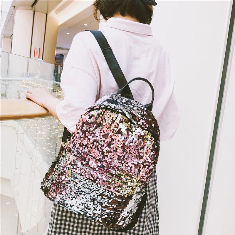 بريق ظهره النساء الترتر الظهر للمراهقات حقيبة الأزياء النسائية الذهب الأسود مدرسة الترتر حقيبة mochila