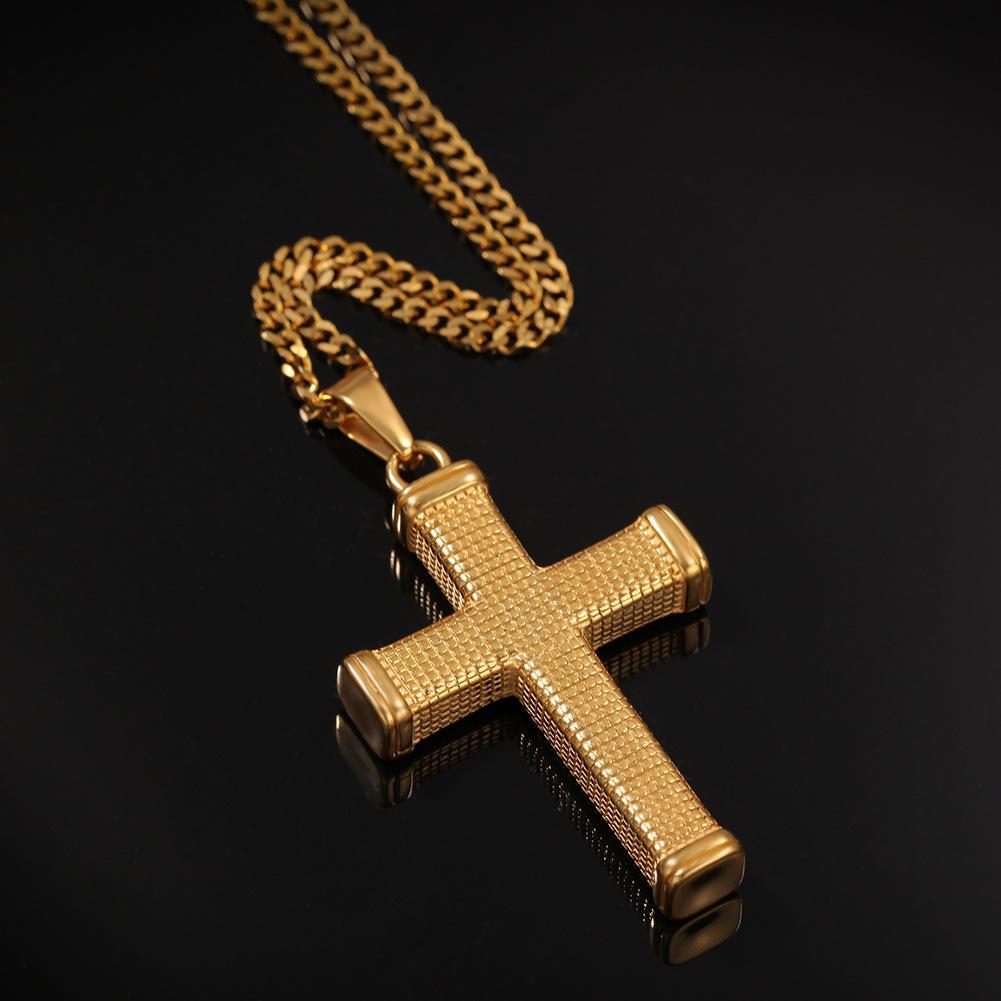 Нержавеющая сталь Мужские Шарм Крест Подвеска Хокеры Ожерелья Мода Хип-хоп Ювелирные Изделия Дизайн Панк Рок Модное Ожерелье Для Мужчин