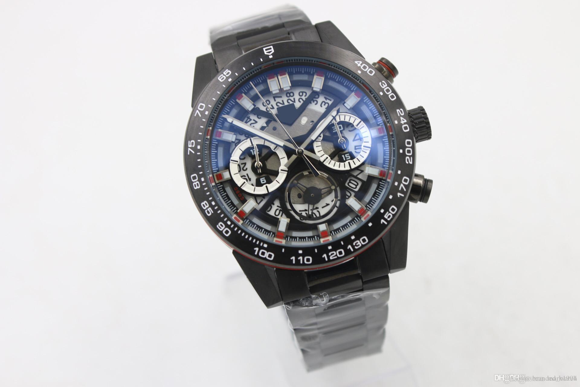 Горячая распродажа кварцевый хронограф мужская наручные часы полые циферблаты тахиметерный аналог черных силиконовых бездельных скелет резиновый ремень C6323 мужские часы