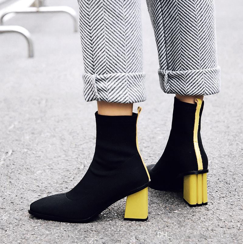 2018 Yeni Stil Kadın Streç Çizmeler Kadın Moda Kırmızı Sarı Kadın Ayak Bileği Çizmeler Sıcak Kare Ayak Yüksek Topuklu Çizmeler