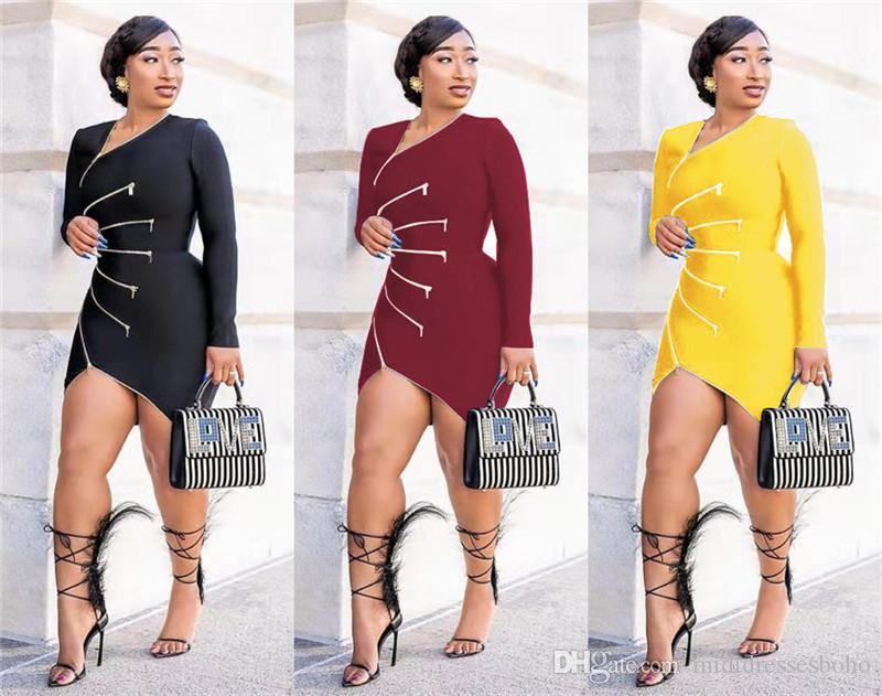 Abbigliamento Donna Designer Dress Moda Zipper sexy Abiti Pullover Autunno Womens Patchwork