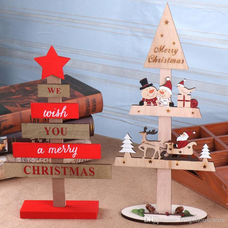 Christmas Tree Decorations Diy Wood Chip Assembly Deer Cart Ornaments Toy Blocks Letter Wooden Sign Xmas Crafts Desktop Ornament BH2434 ZX