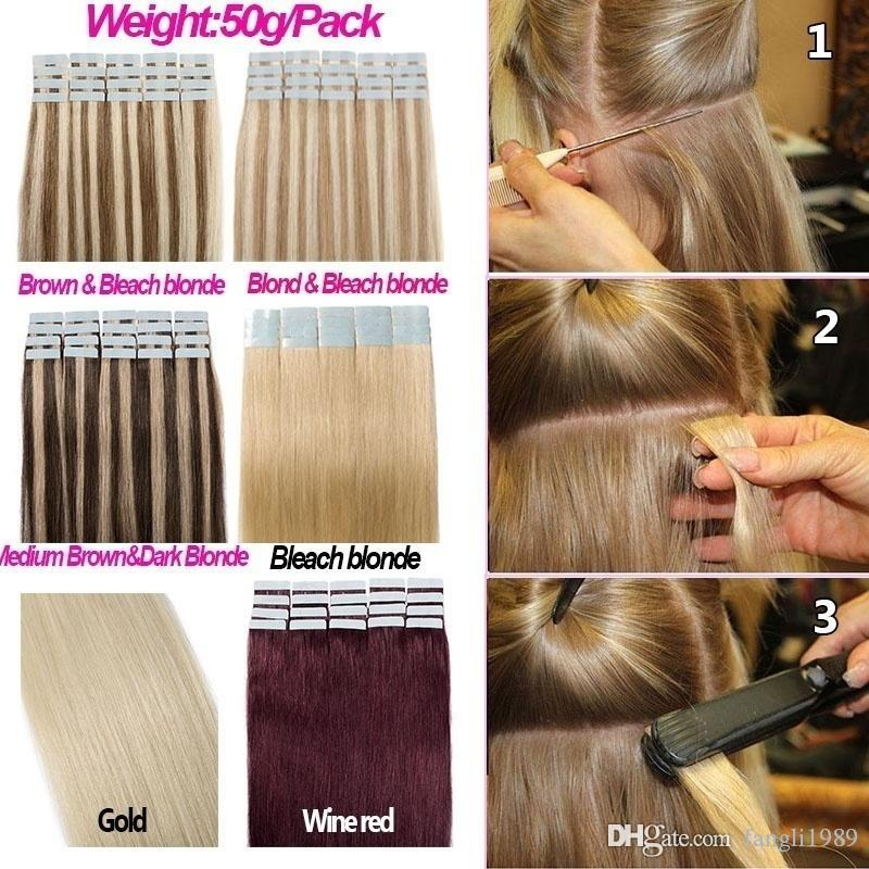 20 Stücke 13colors blondes Band in den Menschenhaarverlängerungen Echtes Menschenhaar der hohen Qualität kein synthetisches Haar
