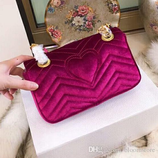Klassische Marmont Loved Frauen Umhängetasche Schultertasche Gestickte Velvet Kleine Messenger-Taschen-Klappen-Verschluss-Kette Handtaschen Massiv Wallets