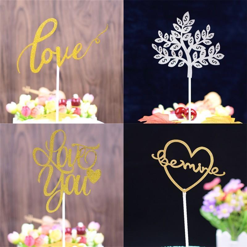 0 33kq BB Oyma Moda Cupcake ekleme Kart İçin Düğün Doğdun Partisi Kek Toppers Aşk Pachira Macrocarpa Pastalar Bayraklar