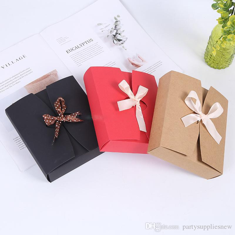 Bowknot 당 선물 상자를 가진 음식 스카프 판지 상자를 굽는 빨강 / 검정 / 브라운 Kraft 종이 상자