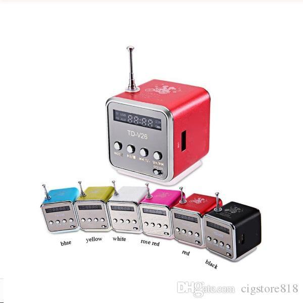 블루투스 스피커 TD-V26 미니 스피커 휴대용 디지털 LCD 사운드 마이크로 SD TF FM 라디오 음악 스테레오 스피커 노트북 휴대폰 MP3를위한