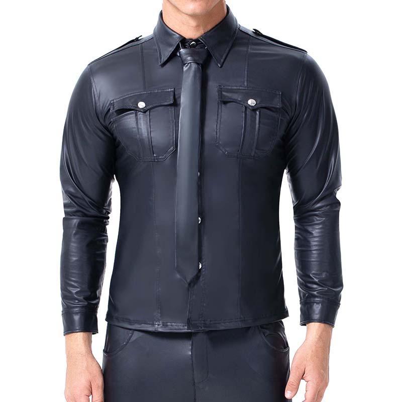 Мужские Кожа PU футболки Sexy Фитнес Кожезаменитель черный с длинным рукавом Карманный Sexy Gay Нижние Wear Hip Hop Мужчины Повседневная одежда костюм