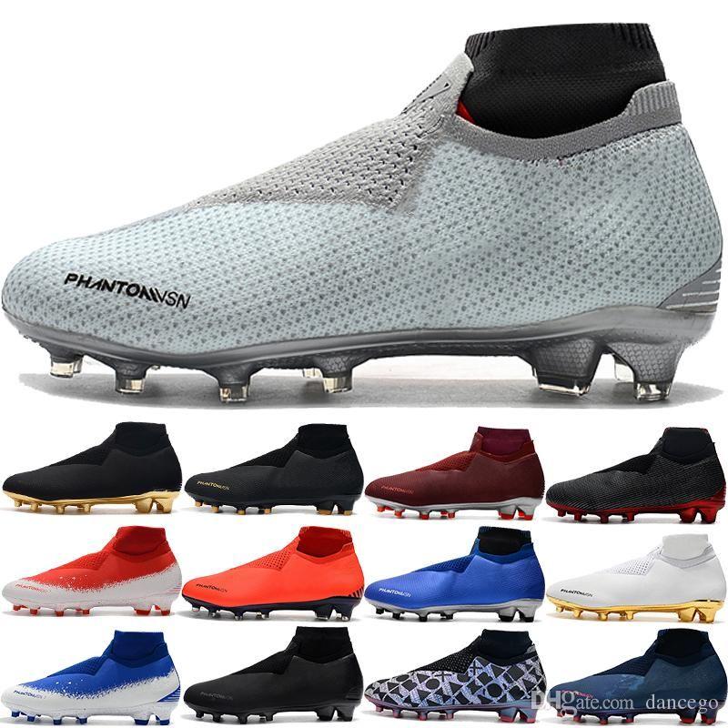 Meilleur Phantom VSN Elite DF FG EA Sports Football Crampons Hommes PSG fantôme Fully Charged Knit Game Over Noir Lux Sock chaussures de football