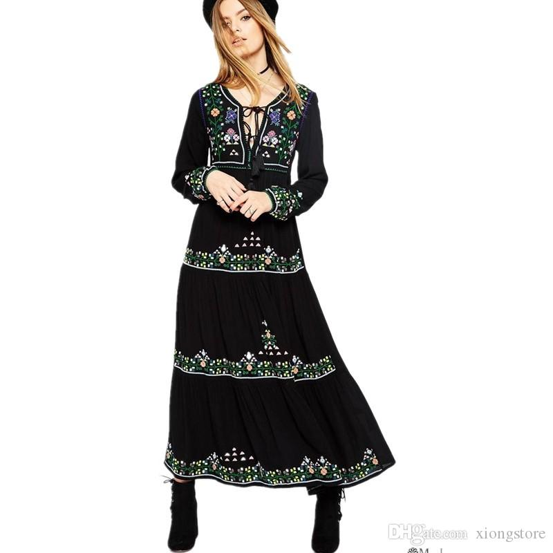 New 2019 A Line V Neck Black Bohemian Runway Maxi Dress Women Long Sleeve With the embroidery pattern Floor Length Women Dress