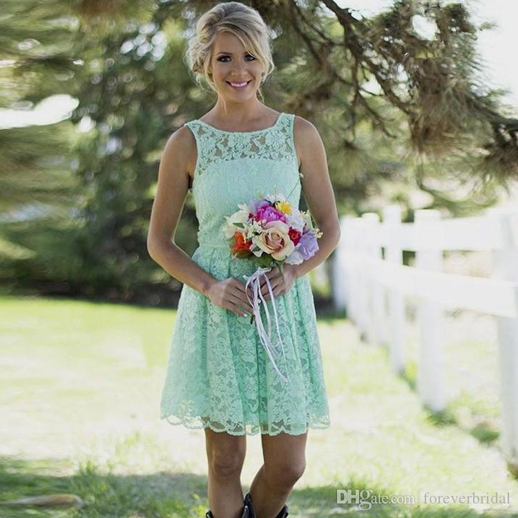 Nane Yeşil Gelinlik Modelleri Ülke Stil Kollu Dantel Örgün Elbise Scoop Boyun Diz Boyu Düğün Elbiseleri