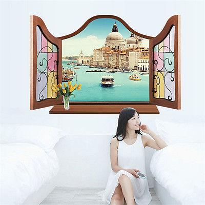 Asciugamano 3D Window View Wall Sticker Decal Sticker Home Decor Soggiorno Natura Paesaggio Eiffel murale Wallpaper Wall Art