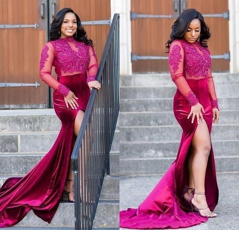 Africano Plus Size Prom Vestidos alta Neck mangas compridas Formal Dress For Women Lace frisado apliques de alta Side Dividir vestidos de noite