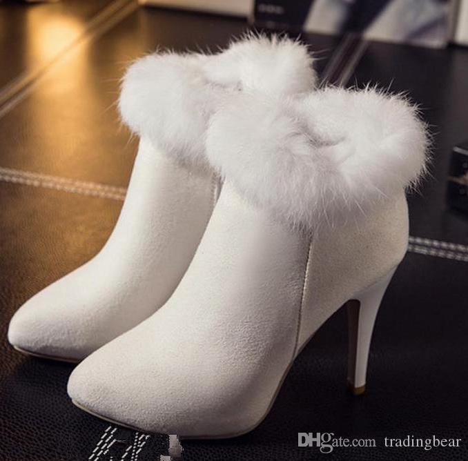Pequeño tamaño grande 33 a 42 43 Botas de piel blanca Boda nupcial zapatos de tacón alto Mantenga cálido Botillo de tobillo de invierno