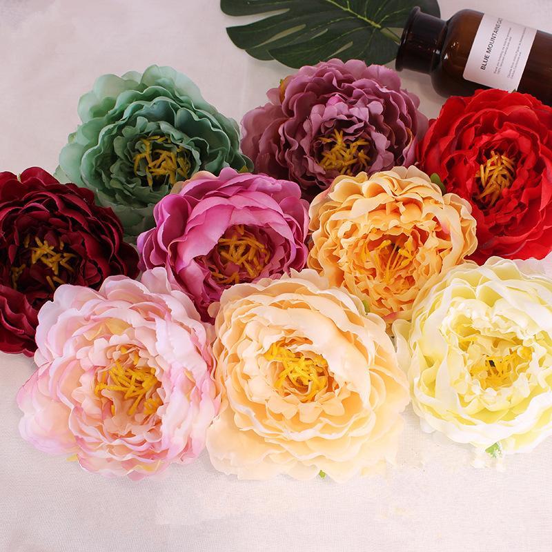 DIY 14CM Yapay Çiçekler Kafa Moda İpek Şakayık Çiçek Düğün Simülasyon Çiçek Ev Dekorasyonu TTA1809 Malzemeleri Heads