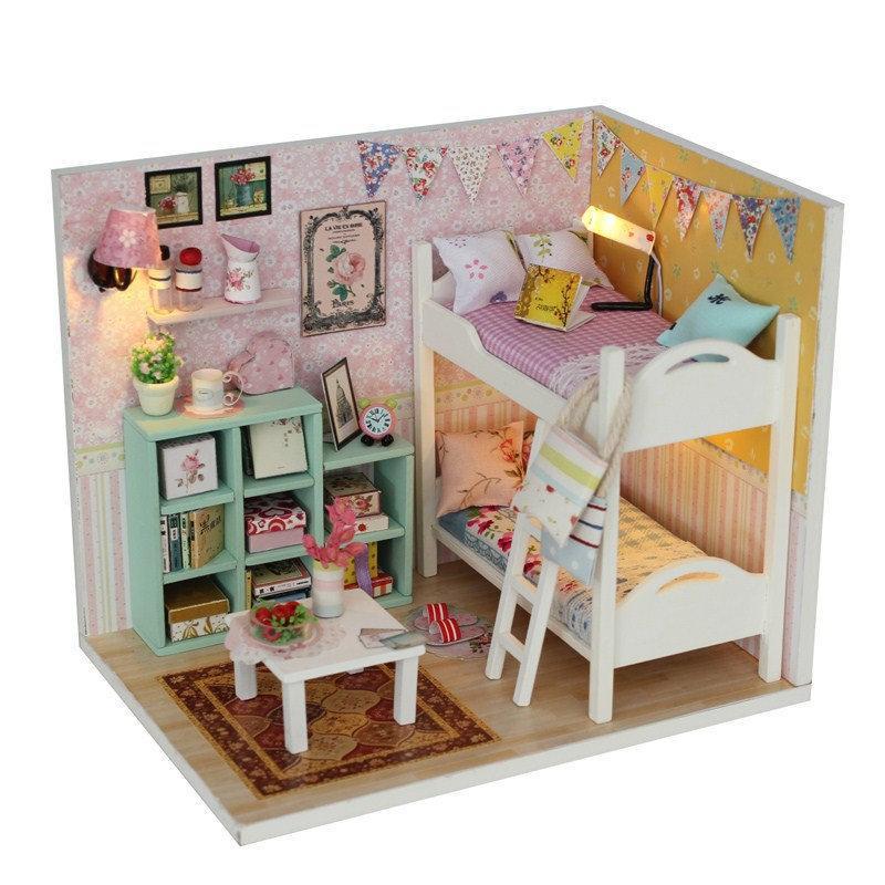 livre de poeira mini-tampa boneca DIY de madeira casa miniaturas kit crianças Dollhouse acessórios Poppenhuis cama maquete maison Y200414