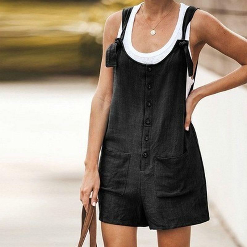 Personalizza tela del cotone Shortall nero generale dei bicchierini online Clothes Shopping Personalizza Lino stupefacente semplice recensione msozD